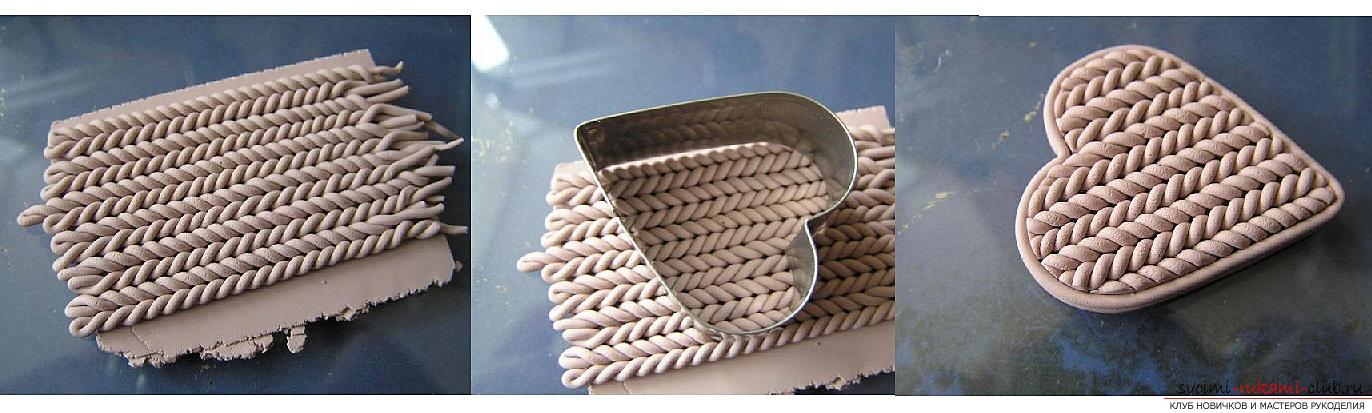 Как сделать брошь из полимерной глины в технике имитации вязания, пошаговые фото создания броши в виде сердечка с пуговкой. Фото №3
