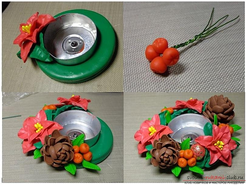 Как сделать подсвечник из полимерной глины в новогодней тематике, пошаговые фото и описание процесса лепки