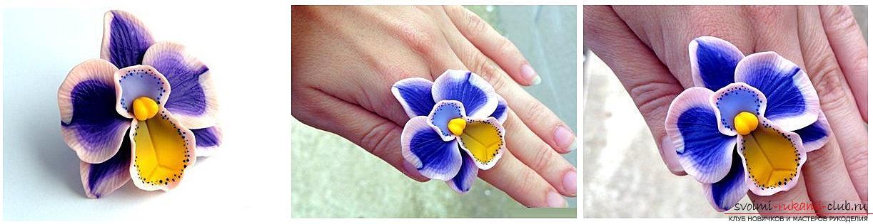 Как сделать кольцо из полимерной глины с декоративным элементом в виде цветка орхидеи, пошаговые фото и описание. Фото №1