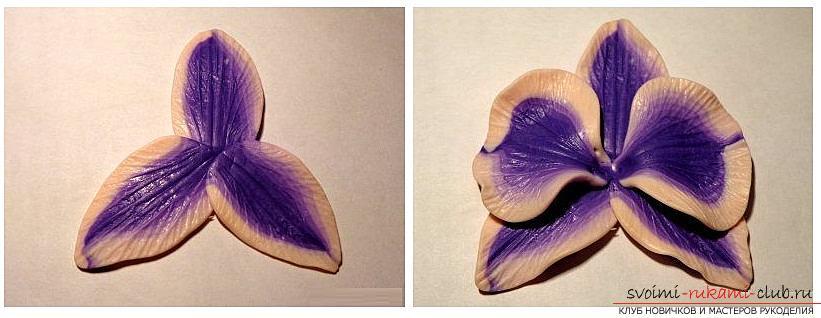 Как сделать кольцо из полимерной глины с декоративным элементом в виде цветка орхидеи, пошаговые фото и описание. Фото №5