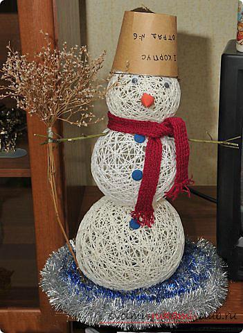 Изготовление шариков-паутинок и мастер-класс по изготовлению снеговика из них