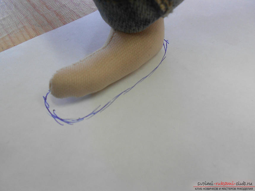 Выкройка ботинок для куклы