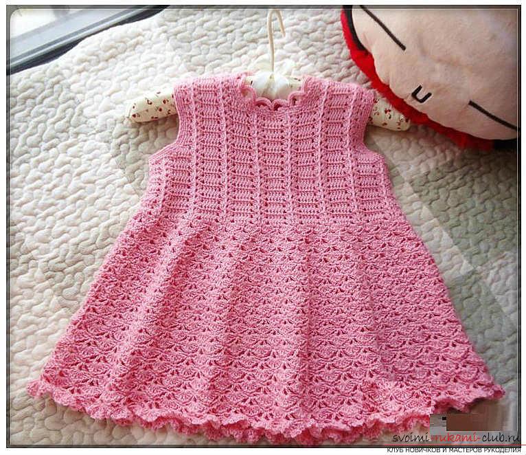 Как связать крючком платье для девочки, схемы, выкройки, описание вязания и фото двух платьев. Фото №5