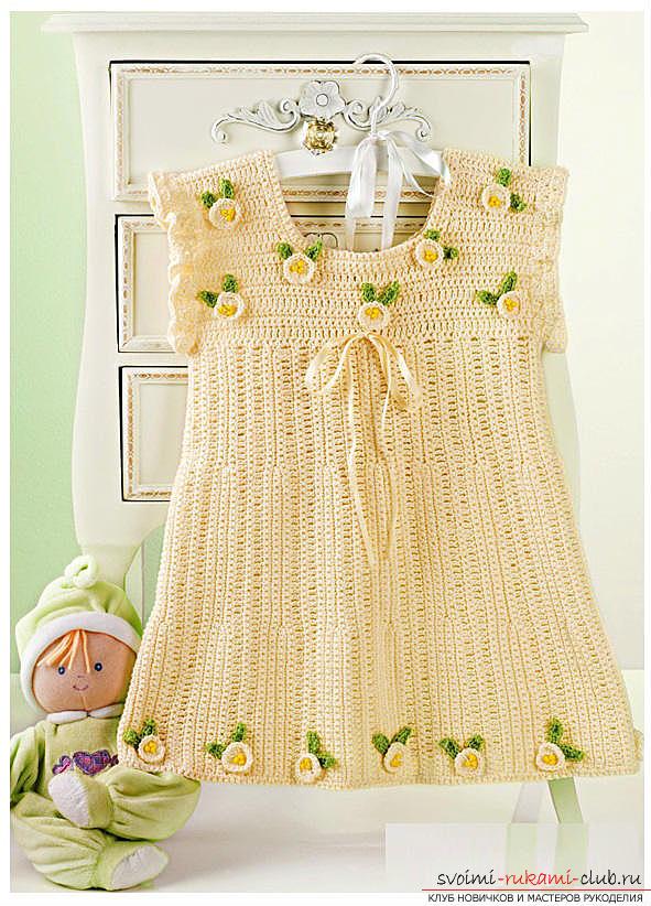 Как связать крючком платье для девочки, схемы, выкройки, описание вязания и фото двух платьев. Фото №1
