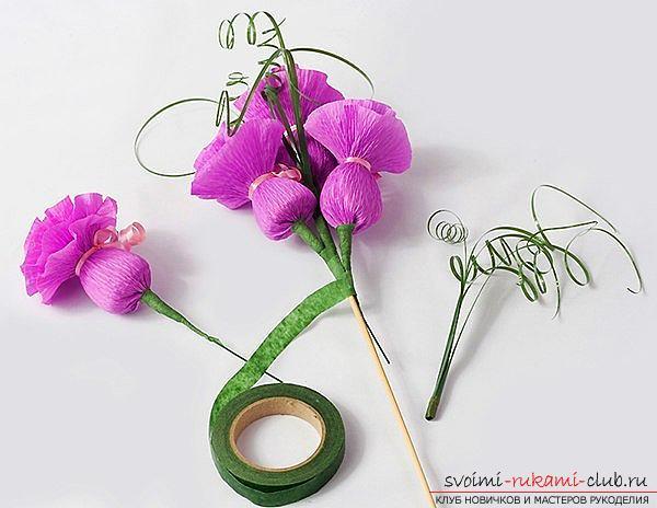 Как сделать своими руками оригинальный подарок к 8 Марта, пошаговые фото и описание создания букетов цветов из конфет. Фото №9