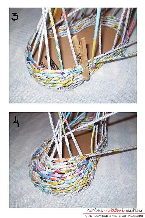 Плетение из газет своими руками, как плести изделия из газетных трубочек, корзина из газетных трубочек своими руками.. Фото №20