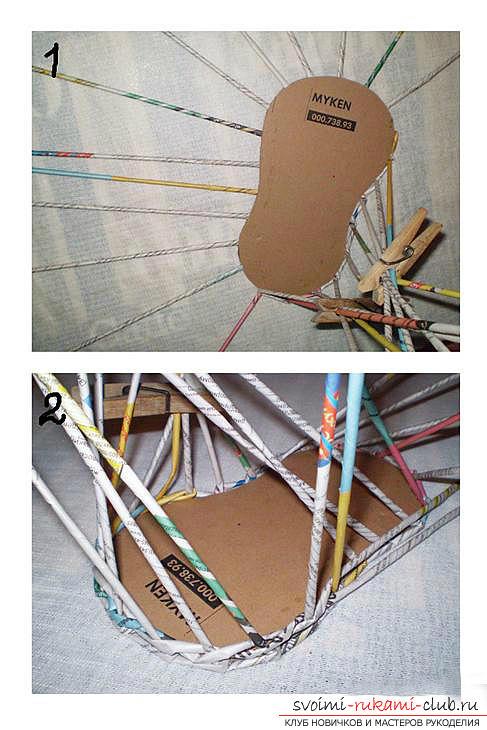 Плетение из газет своими руками, как плести изделия из газетных трубочек, корзина из газетных трубочек своими руками.. Фото №19
