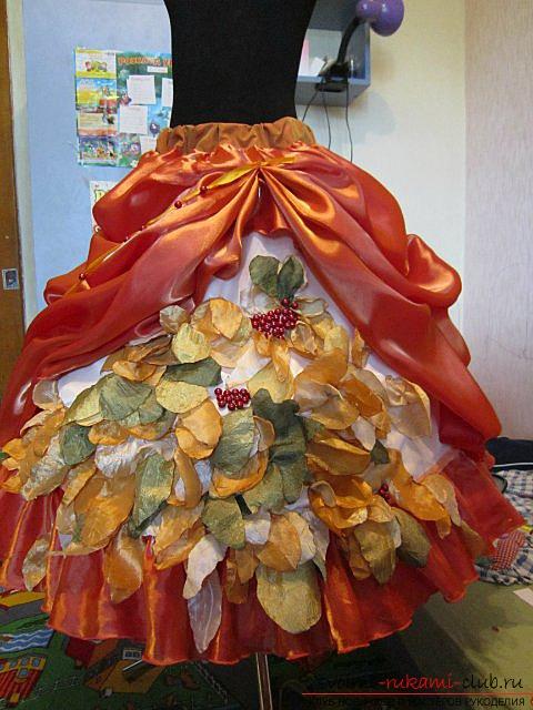 Осенняя поделка платье из листьев