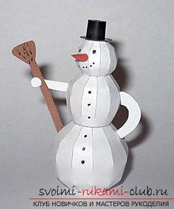 Новогодние поделки, детские новогодние поделки своими руками, как сделать снеговика из бумаги своими руками, примеры и инструкции по выполнению.. Фото №13