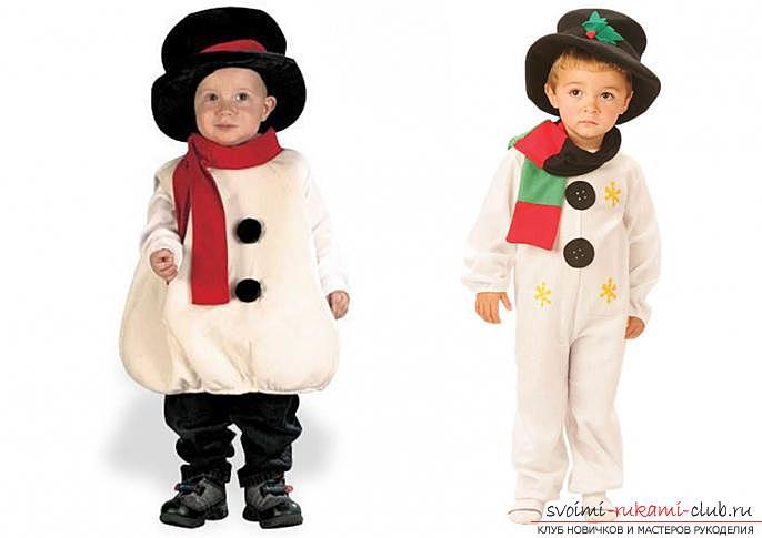 Новогодние костюмы своими руками, как самостоятельно сделать костюм снеговика, варианты и примеры изготовления отдельных деталей костюма.. Фото №2