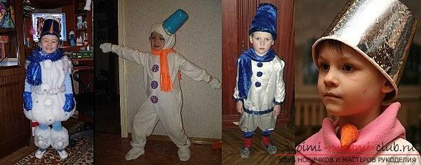 Новогодние костюмы своими руками, как самостоятельно сделать костюм снеговика, варианты и примеры изготовления отдельных деталей костюма.. Фото №4