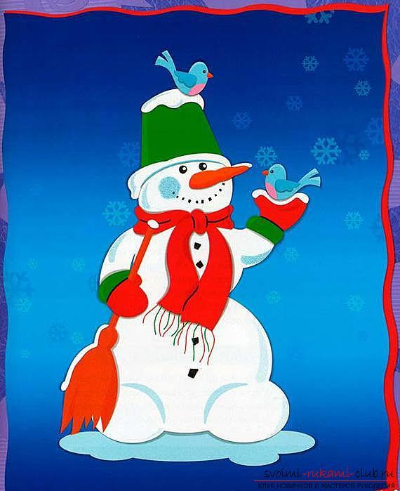 Новогодние поделки, детские новогодние поделки своими руками, как сделать снеговика из бумаги своими руками, примеры и инструкции по выполнению.. Фото №15
