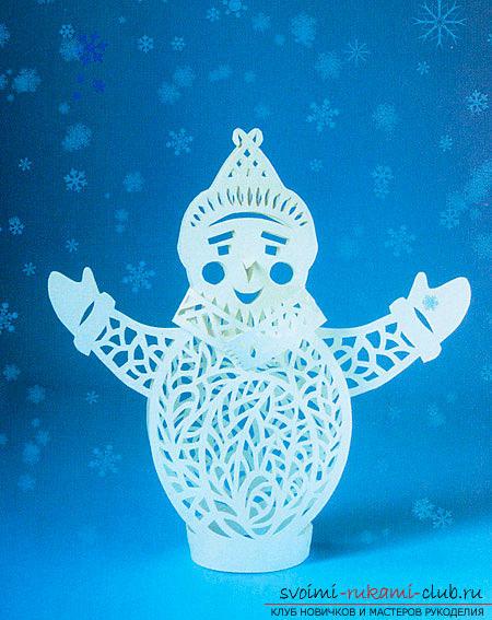 Снеговик вырезать из бумаги своими руками