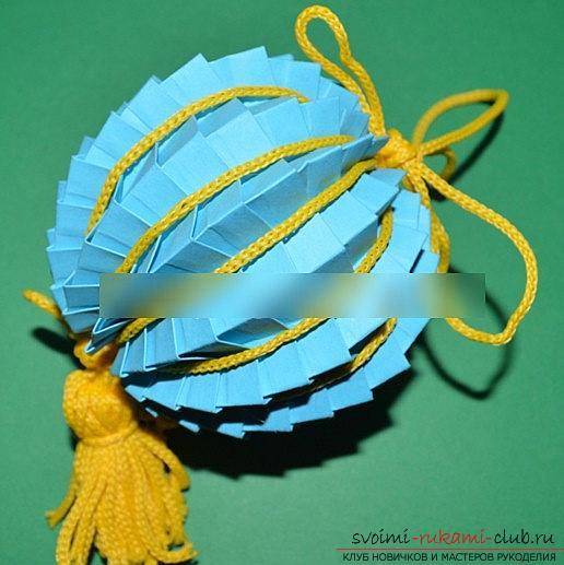 Урок оригами новогодней бумажной игрушки и мастер-класс новогоднего рукоделия. Фото №1