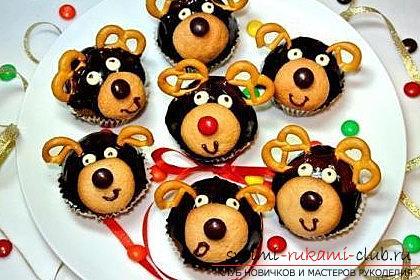 Кексы в форме оленей к новому году - мастер-класс выпечки и рецепт кексов. Фото №1