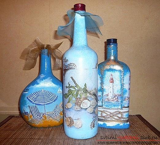 Фото декупажа бутылки