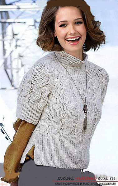 Как связать пуловер с узором коса. Фото №6