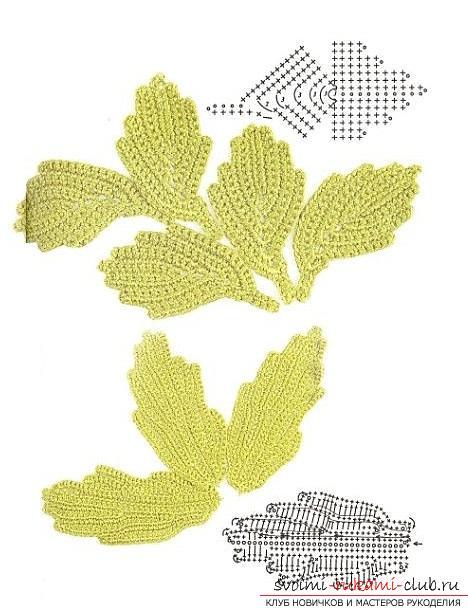 Схемы и подробное описание как связать крючком листья разных форматов.. Фото №9
