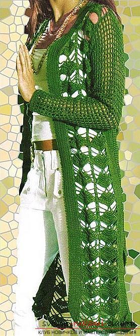 Схемы и описание вязания крючком женских летних кардиганов, фото готовых изделий.. Фото №6