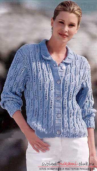 Красивая женская кофта: вяжем спицами со схемой. Фото №6