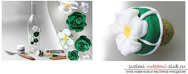 Как украсить бокалы полимерной глиной и как сделать кольца для салфеток из термопластики.. Фото №8