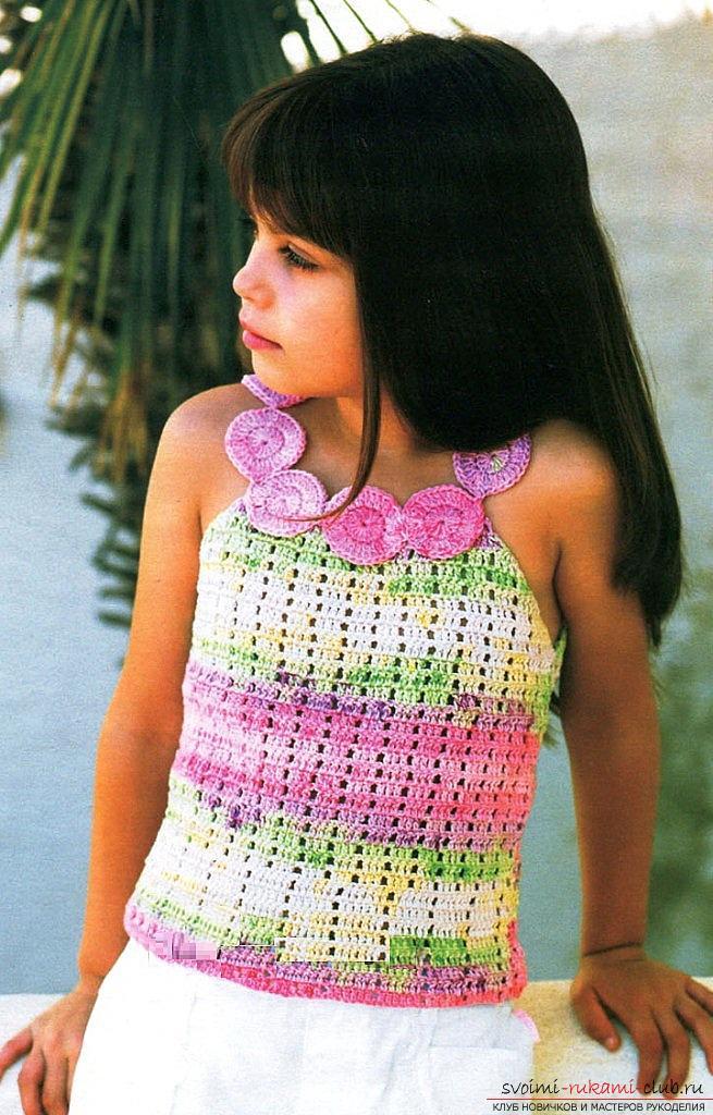 Как связать крючком летнюю маечку для детей разного возраста со схемами и описанием.. Фото №1