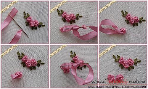 Оригинальная вышивка лентами цветов по мастер-классу с фото и схемами. Фото №4