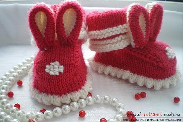 Уникальные пинетки-зайчики спицами для детей. Фото №8