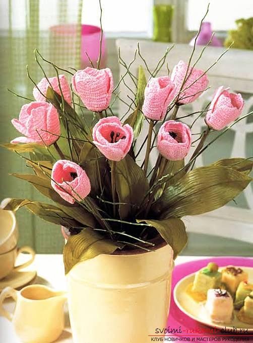 Как связать объемную орхидею, нарцисс, фиалку и тюльпан крючком, схемы и описание.. Фото №6