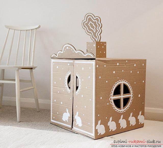 Домик для кошек из коробки своими руками