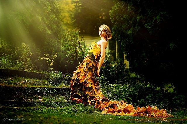 Платья осенние из листьев