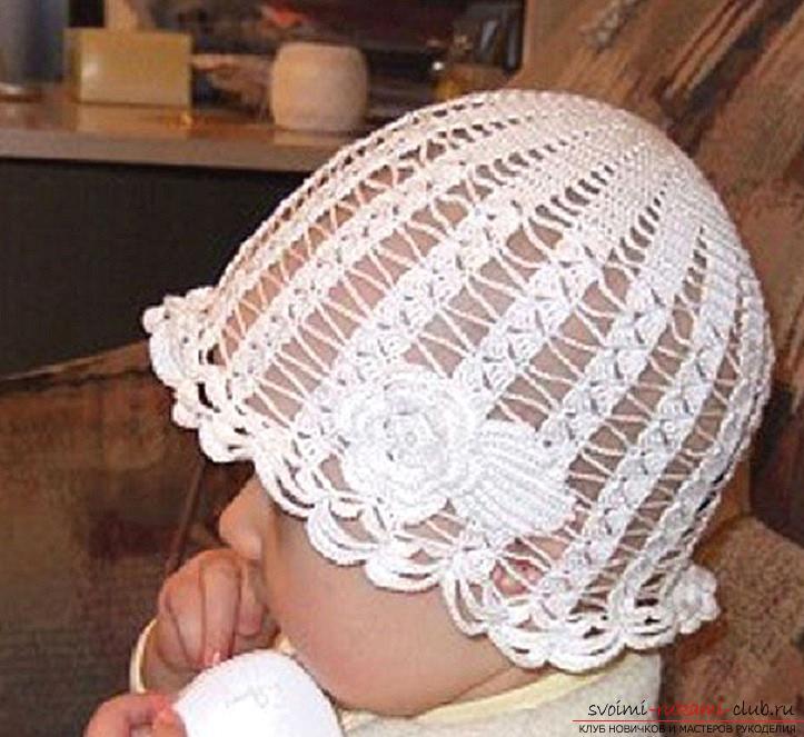 Летние шапочки для детей и взрослых, связанные своими руками крючком со схемами, описанием и фото.. Фото №12