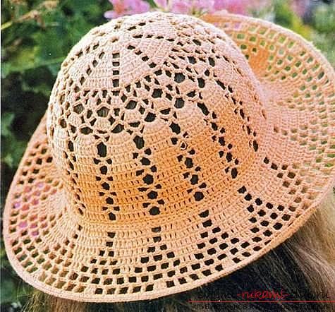 Схемы и описание того, как связать крючком летнюю шляпку для женщины, фото изделий.. Фото №5