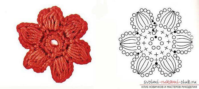 Пышный цветок крючком схема