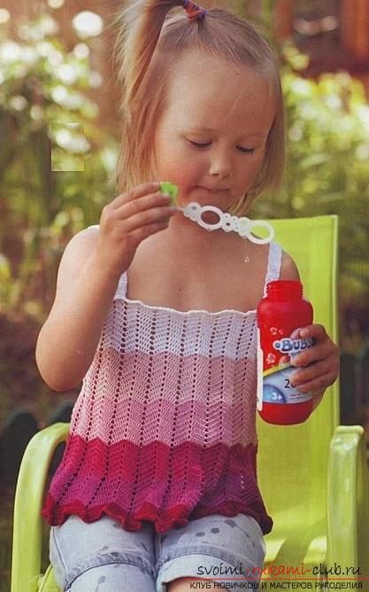 Как связать крючком летнюю маечку для детей разного возраста со схемами и описанием.. Фото №6