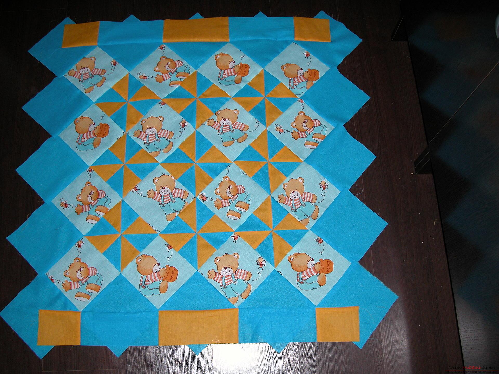 Подробный мастер класс по шитью детского лоскутного одеяла. Фото №17