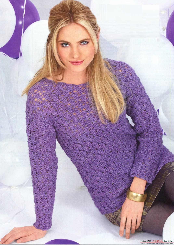 Вяжем свитер простым узором по схеме. Фото №5