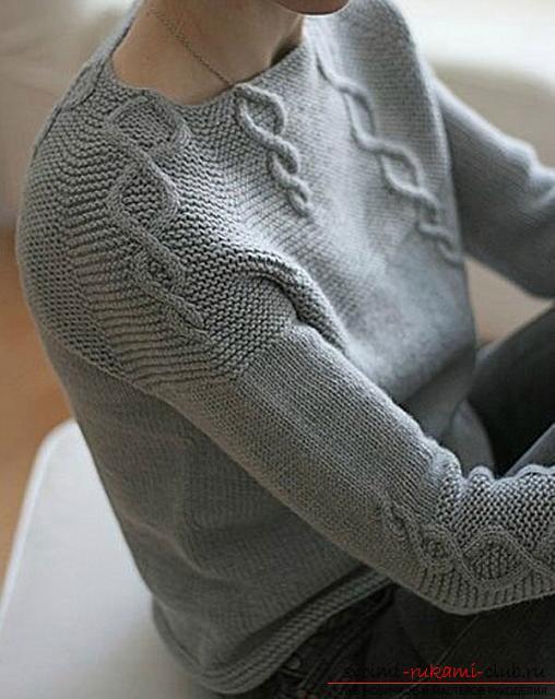 Как связать пуловер с узором коса. Фото №5