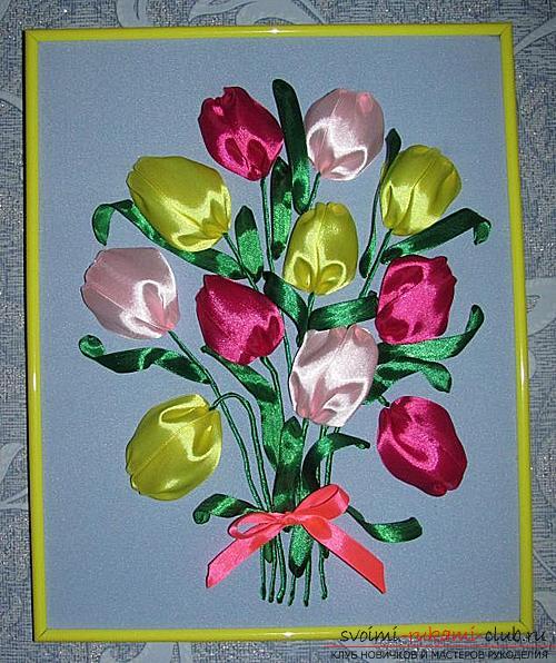 Оригинальная вышивка лентами тюльпанов по мастер-классу с фото и схемами. Фото №7