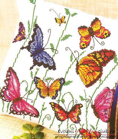 Подушки вышивка крестом бабочки схемы