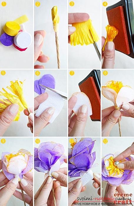 Поделка цветка из гофрированной бумаги. Материалы для поделки бесплатно.. Фото №1