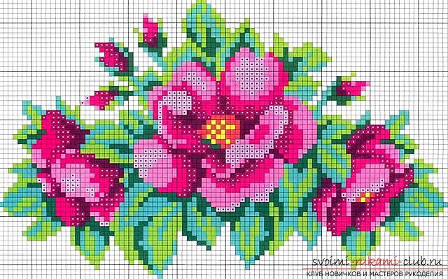 Вышивание цветка при помощи бисера