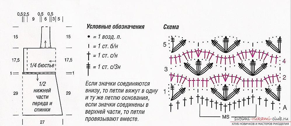 Как связать летние женские маечки крючком со схемами, выкройками и описанием работы.. Фото №5