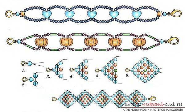 Бесплатные схемы и мастер классы с фото по плетению фенечек из бисера и бусин.. Фото №12