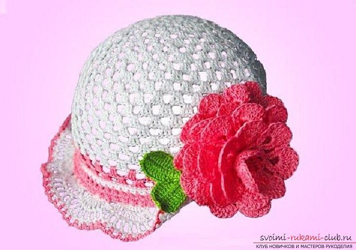 Летние шапочки для детей и взрослых, связанные своими руками крючком со схемами, описанием и фото.. Фото №9