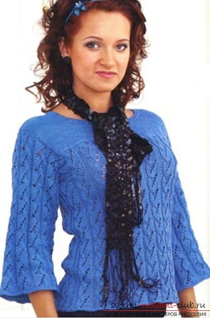 Красивая женская кофта: вяжем спицами со схемой. Фото №3
