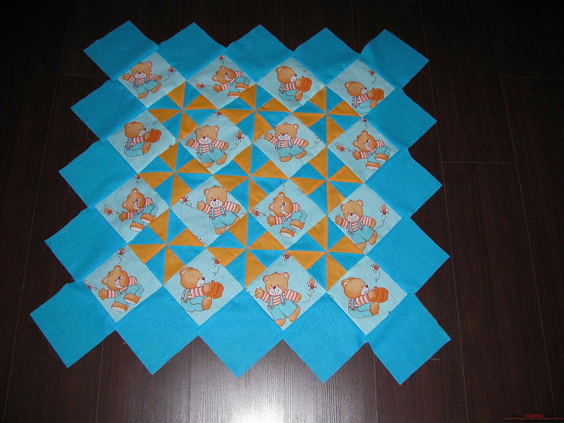 Подробный мастер класс по шитью детского лоскутного одеяла. Фото №13