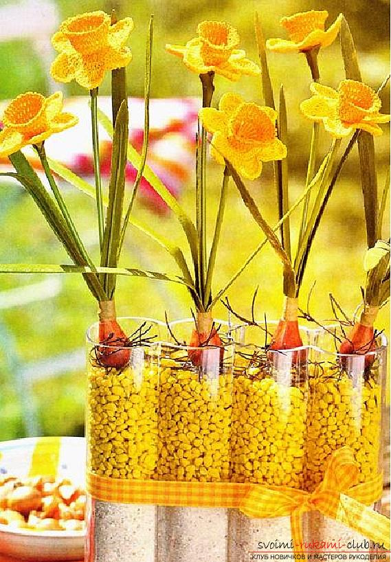 Как связать объемную орхидею, нарцисс, фиалку и тюльпан крючком, схемы и описание.. Фото №4