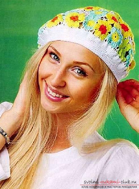 Летние шапочки для детей и взрослых, связанные своими руками крючком со схемами, описанием и фото.. Фото №14