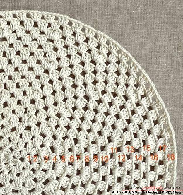 Красивый напольный коврик крючком для начинающих. Фото №13